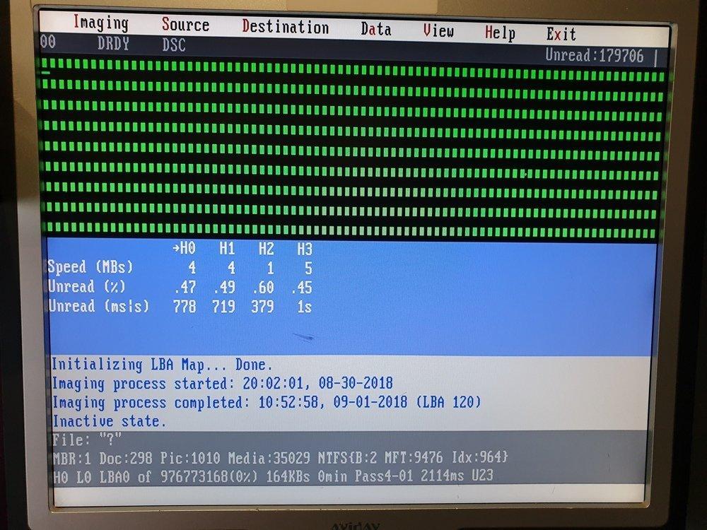 WD 5000 hard drive imaging